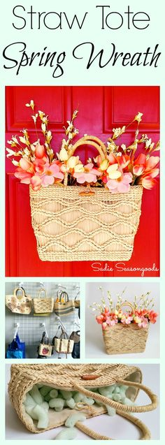DIY unique Spring wreath door decor with thrift store straw tote bag filled with flowers by Sadie Seasongoods / www.sadieseasongoods.com
