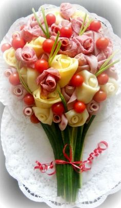 hors d'oeurvres -ham and cheese bouquet ~Debbie Orcutt ❤ Rockwell Catering and Events