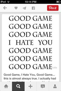 """Good Game, I Hate You, Good Game. I think I have said this before, but instead of """"I hate you"""" I said """"you suck"""" Soccer Jokes, Volleyball Memes, Basketball Memes, Sports Memes, Volleyball Players, Baseball Games, Soccer Stuff, Funny Volleyball Quotes, Soccer Tips"""