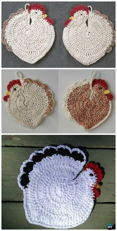 Crochet Speckled Hen Potholder Free Pattern - #Crochet; Chicken Free Patterns