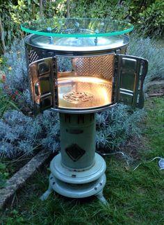 tablette lumineuse cr e partir d 39 un tambour de machine laver et d 39 une jarre recycl s. Black Bedroom Furniture Sets. Home Design Ideas