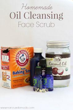 DIY Facial Oil Cleansing Scrub Coconut Oil, Castor Oil, Vitamin E, Carrot seed oil, Lavender, Baking soda