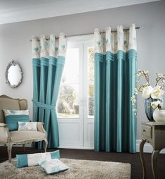 Sliding curtains & sliding curtains : Curtain set Arabelle with eyelets, blickdichtWayfair. Teal Bedding, Linen Bedding, Bedding Sets, Bed Linens, Turquoise Bedding, Plaid Bedding, Sliding Curtains, Drapes Curtains, Beds Uk