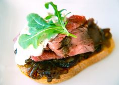 Roast Beef Canapés with Stilton Cream and Red Onion Jam
