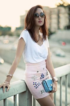 DIY Embellished Outfit Ideas - Glam Bistro. If she had been blond, then this pin would be dumb.