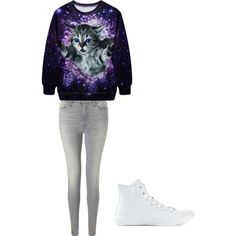 Cat fever by alannaxjonnesx on Polyvore featuring polyvore, fashion, style, 7 For All Mankind and Converse