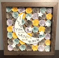Excited to share this item from my shop: I Love You to the Moon and Back Hand Rolled Paper Flower Shadow Box, Nursery Decor, Kid's Room, Moon and Stars Flower Shadow Box, Diy Shadow Box, Shadow Box Frames, Flower Boxes, Box Frame Art, Diy Frame, Rolled Paper Flowers, Rolled Paper Art, Paper Flower Art
