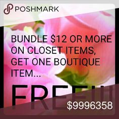 READ FIRST!!! Bundle TWO ITEMS, do NOT make an offer!!! Comment on boutique item you want for free (DO NOT ADD FREE ITEM TO YOUR BUNDLE)! Purchase bundle, and I will include free item in your shipment. It's THAT simple!!! HAPPY POSHING! 💞 Other