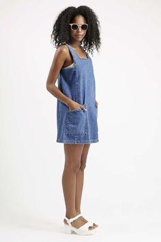 MOTO Square Neck Denim Pinafore Dress - Topshop