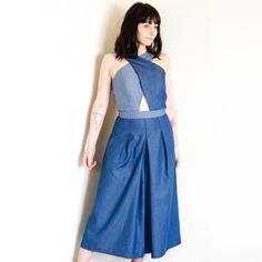 Cross Front Culotte Jumpsuit in Tencel Denim