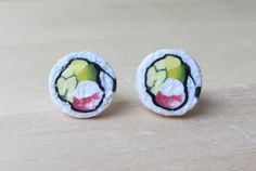 Tiny Sushi California Roll Studs Kawaii Humorous by ColorfulClay