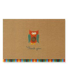 Look at this Owl Thank You Note Set on #zulily today!