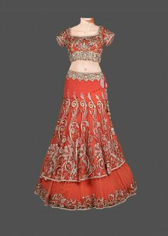 Fashion: Exclusive Handcrafted Bridal and Wedding Lehengas Indian Outfits, Indian Clothes, Net Blouses, Lehenga Collection, Lehenga Designs, Coral, Peach, Two Piece Skirt Set, Silk