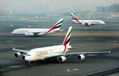 Dubai-based Emirates is one of the airlines impacted by the UK and U. Pictured are Emirates aircraft. EmiratesSkift Take: Electronics are now banned in the cabin on most flights from the Middle Airbus A380 Emirates, A380 Aircraft, Emirates Airline, Aviation News, Civil Aviation, Air France, British Airways, Phuket, Cairo