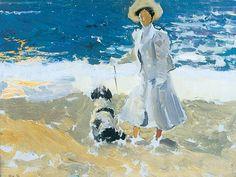 Joaquín Sorolla - Una señora y un perro en la playa