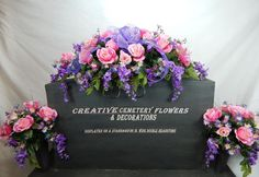 Dad/Mom Cemetery Flower Double Headstone/ Saddle/Ribbon & Script+Vase Bushes | Everything Else, Funeral & Cemetery, Other Funeral & Cemetery | eBay!