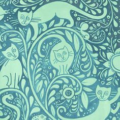 Julie Paschkis - CATKIN - Blue Cat Woodcut (5JPB3) - In the Beginning Fabric