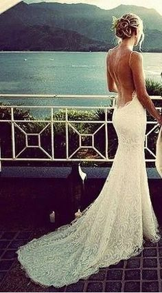 Gorgeous low back lace wedding dress