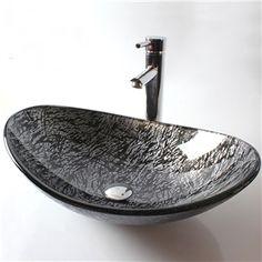 (EU Lager)Glas Waschbecken Modern Blatt Design