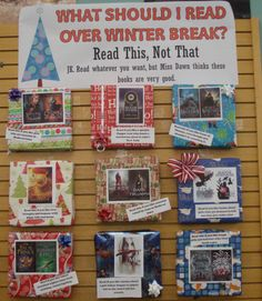Teen display.  What do read over winter break.  I chose books that are very good but often overlooked.