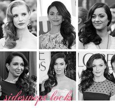 Sideswept locks, down wedding hairstyle inspiration from Snippet & Ink.  Down-Do's.  Jessica Chastain, Emmy Rossum, Marion Cotillard, Maya Rudolph, Megan Fox, Rachel Weisz.