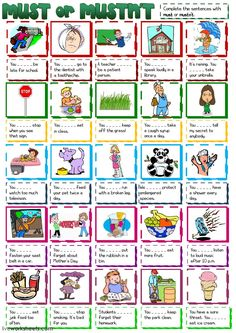 Must or Mustn't - English ESL Worksheets for distance learning and physical classrooms Grammar Activities, Grammar Worksheets, Printable Worksheets, Printables, Degrees Of Comparison, Late For School, English Exercises, English Worksheets For Kids, English Lessons