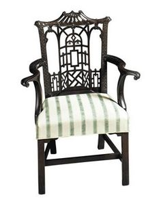 Chinese Chippendale chair shown in House Beautiful; nice non-floral design