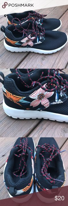 "• Floral Sneakers • • Size 7 - True to size • Color - Black w floral pattern • Breathable mesh upper, foam insole, lightweight ousole • Heel height - 1.25"" ! Excellent condition, worn only a couple of times, no flaws Shoes Sneakers"