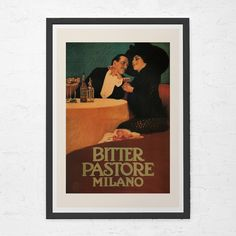 POSTER BITTER PASTORE MILANO ITALIAN COUPLE DRINKING VINTAGE REPRO FREE S//H