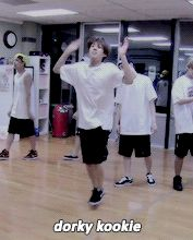 Imagine: Jungkook dancing weirdly for you and you laughing at him. Rapmon walks by saying your dating  a dork and points at jungkook. (Y/N): yup I love my dorky kookie. ~SR~