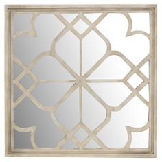 Bring a lovely focal point to your foyer or anchor decor on your mantel with this mirrored wall decor, showcasing latticed wood overlay and a weathered finis...