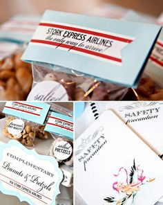 I know this one is a baby shower but how cute would it be to have peanuts & pretzels for the favors?!