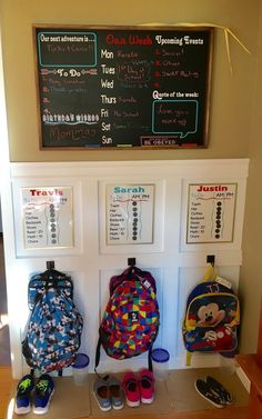 School Rules Our backpack station / command center designed by Home Sweet Signs NH. Here's to a great & organized school year!Our backpack station / command center designed by Home Sweet Signs NH. Here's to a great & organized school year! Home Organisation, Organization Hacks, Kids Clothes Organization, Backpack Organization, Kids Backpack Storage, Organizing Toys, Organization Station, Weekly Clothes Organizer, School Bag Organization