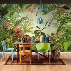 East Urban Home With a surprise behind every leaf this scenic wall mural lets you enjoy the spectacular view of a tropical rain forest. Watch tigers parrots and other exotic creatures in their natural habitat all from a safe distance of course! Custom Wallpaper, Wallpaper Roll, Photo Wallpaper, Wall Wallpaper, Scenic Wallpaper, Cheap Wallpaper, Self Adhesive Wallpaper, Wallpaper Ideas, Pattern Wallpaper