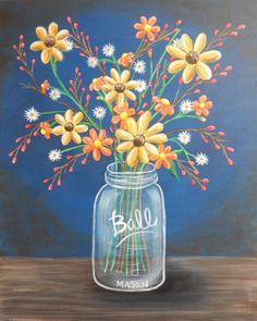 Easy Flower Jar Acrylic Painting Tutorial For Beginners Step By Step Cute Canvas Paintings, Easy Canvas Painting, Spring Painting, Diy Painting, Painting & Drawing, Canvas Art, Canvas Painting Designs, Painting Abstract, Acrylic Painting Flowers