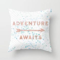 Rose gold adventure awaits with an arrow teal turquoise green blue stars and a white map of the north pole design. Adventure decor for your dorm room or bedroom wall inspired by travel and nature. More outdoors and original art by clicking Cascadia!