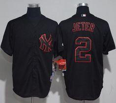 Yankees #2 Derek Jeter Black Strip Stitched MLB Jersey