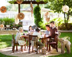 Love this intimate party idea for kids. Adding burlap to the chair is a nice touch.