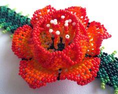 Mexican Huichol Beaded Flower Bracelet by Aramara on Etsy                                                                                                                                                      More