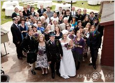 Here's a view of all of the wedding guests on the courtyard patio at the McCreery House in Loveland Colorado - April O'Hare Photography #Colorado #ColoradoWedding #ColoradoWeddingPhoto #LovelandWedding #Loveland #LovelandWeddingPhoto #Steampunk #SteampunkWedding #Springwedding #McCreeryHouse