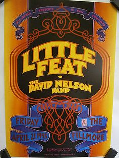 Little-Feat-original-1995-concert-poster-Bill-Graham-Presents-F185-music-art