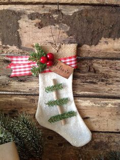 White Burlap Christmas Stocking Ornament by Primitive Christmas Ornaments, Burlap Christmas Stockings, Cabin Christmas, Woodland Christmas, Christmas Love, Country Christmas, Winter Christmas, Handmade Christmas, Christmas Crafts