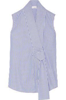 Victoria Beckham Striped cotton-poplin top | NET-A-PORTER