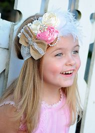 Pink & Ivory Country Flowers and Bow Lace Headband