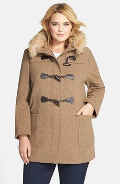 Pendleton Hooded Wool Blend Duffle Coat with Genuine Coyote Fur (Plus Size) (Online Only) available at #Nordstrom