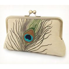 Peacock feathers clutch bag : luxury embroidered silk and linen with... ($75) ❤ liked on Polyvore