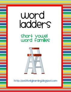 Here's a free packet of 20 half-page word ladders featuring short vowels! I use these pages in literacy centers and learning journals. Students add initial sounds to short vowel word families to form new words. Just print, copy, and cut in half! Word Ladders - Long Vowels is also available at my store.