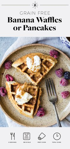 High protein grain free waffles or pancakes with banana and cinnamon flavor. Perfect served with fresh berries, yogurt and almond butter! Get this recipe and 60+ more like it in our new meal program, HGG Reset. #healthybreakfasts #waffles #mealprep #glutenfreerecipes