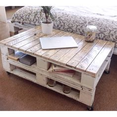 """Pallet Coffee Table """"LEMMIK"""" Farmhouse Style, Rustic, Shabby Chic... ($181) ❤ liked on Polyvore featuring home, furniture, tables, accent tables, salvaged wood coffee table, wood accent table, wooden furniture, reclaimed wood accent table and recycled wood furniture"""