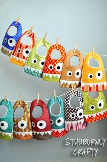Monster Bib Pattern & Tutorial (also with link to a ruffled girls's bib)